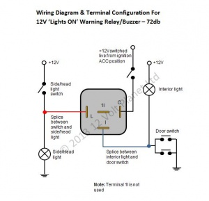 12v relay switch wiring diagram atwood rv furnace parts 'lights-on' warning relay/buzzer 72db | 12 volt planet